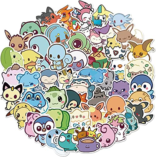 DINGQING 50 pièces Mignon Elfe série Pokémon Main Compte Autocollants Bricolage Ordinateur Portable Planche à roulettes Casque Main Compte Moto décoration Autocollants