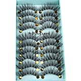 10 Pairs 3D Soft Faxu Mink False Eyelashes Crisscross Wispy Fluffy Lashes Extension Eye Makeup Tools Handmade Eyelashes (A01)
