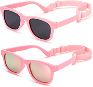 Flexible Polarized Baby Sunglasses with Strap Adjustable for Toddler & Newborn Infant 0-18 Months, UV Protection