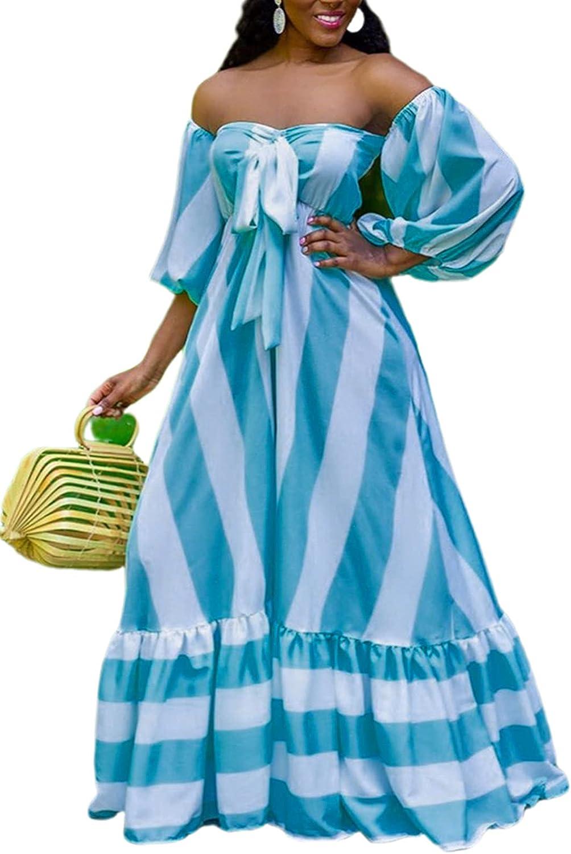 SAMACHICA Women Elegant Off Shoulder Strapless Multi-wear Color Block Striped Ruffled Maxi Dress with Sleeve