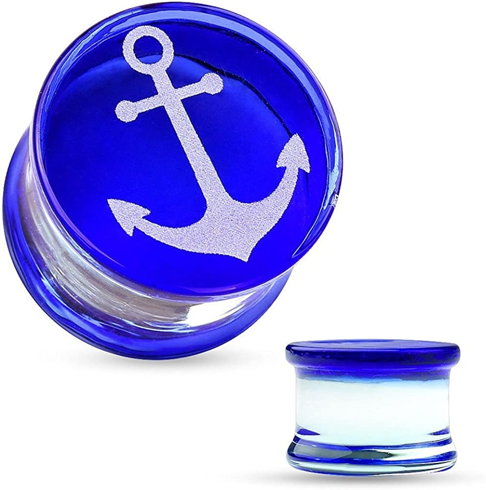 Covet Jewelry Anchor Engraved Face Blue Pyrex Glass Saddle Plug