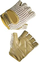 Padded Leather Fingerless Cotton Crochet Cycling Gloves