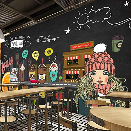 WGBHQ 3D Mural Removable Self-Adhesive Wallpaper-Wall Decoration - Hand Drawn Blackboard Fruit Coffee Shop Wall Cold Drink Shop Bakery Bedroom Restaurant Office Children'S Room Fam(W)400x(H)280cm