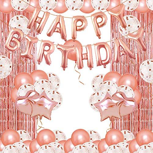TENSUN Geburtstagsdeko Rosegold Set, 75 Stück Happy Birthday Girlande Luftballons Folienballons Paillettenballons Luftballons Glitzer Vorhang Partyzubehörsets für Frauen Mädchen Party Geburtstag Deko