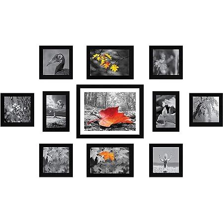 Amazon Brand - Solimo Collage Set of 11 Black Photo Frames ( 4 x 6 Inch - 2 & 5 X 5 Inch - 6, 5 X 7 inch - 2 & 8 X 10 inch - 1 )