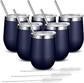 Fungun 6 pack 12 oz Stainless Steel Stemless Wine Glass Tumbler Double Wall Vacuum Insulated Wine Tumbler with Slip Lids Set of 6 for Coffee, Wine, Cocktails, Ice Cream Including 6 Straws(Navy Blue)