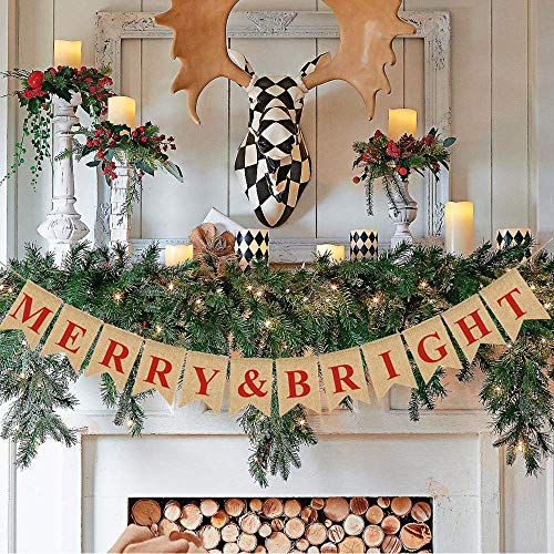 Merry & Bright Christmas Burlap Banner