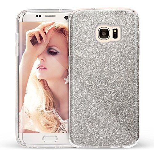 Coovertify Funda Purpurina Brillante Plateada Samsung S7 Edge, Carcasa Resistente de Gel Silicona con Brillo Gris Plata para Samsung Galaxy S7 Edge (5,5')