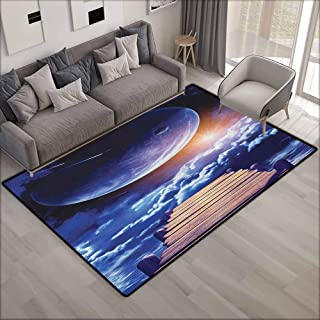 Collection Area Rug,Outer Space Watching A Meteor Rain from A Wooden Dock Under The Sun Rays Image,Extra Large Rug,5'10