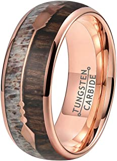 Wow Jewelers 8mm Silver Rose Gold Tungsten Rings for Men Women Wedding Bands Koa Wood Arrow Deer Antler Meteorite Inlay Domed Polished Shiny Comfort Fit