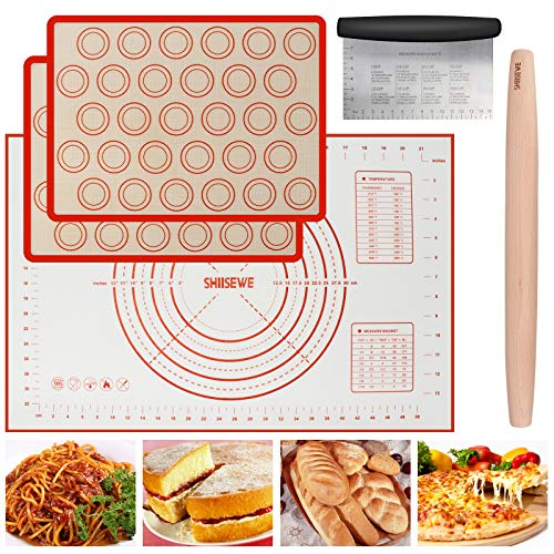 Silicone Pastry Mat for Pastry Rolling pin with Measurements, Thick Non Stick Baking Mat with Measurement Fondant Mat, Counter Mat, Dough Rolling Mat