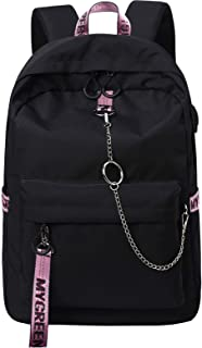 Fashion Backpack with USB Charging Port for Travel Lightweight School Bookbags with Cute Letters Strap for Teenage Girls & Children (Black+Pink)