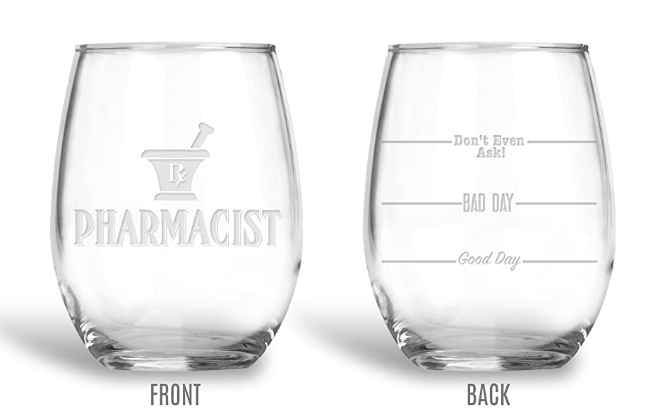 BadBananas Pharmacist Gifts - 21 oz Engraved Wine Glass with Etched Coaster - Good Day, Bad Day, Don't Even Ask - Pharmacist Gifts For Women And Men