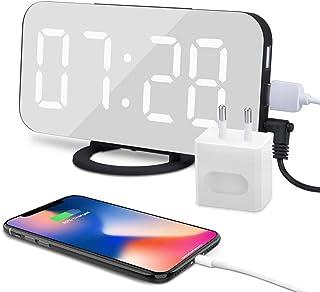comprar comparacion Despertador Digital Espejo LED Despertador Electrónico, Espejo Reloj Digital Moderno con Función de Alarma USB Puerto, Sno...