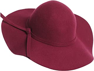 Women 100% Wool Wide Brim Cloche Fedora Floppy hat Cap