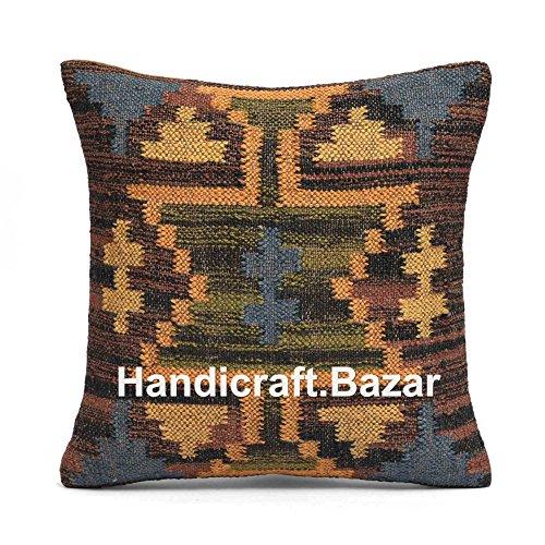 Handicraft Bazarr Kelim Kissenbezug, Vintage, Wolle, Jute, 45,7 x 45,7 cm, traditioneller Bodenkissen, Heimdekoration, Bohemian-Kissenbezug