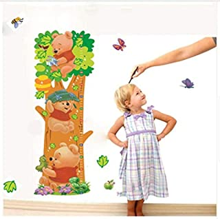 Wall Stickerwall Stickers Mural Lovely Pooh Trees Bear Height Measurement Wall Stickers for Kids Rooms Decoration Cartoon Growth Chart Wall Decals PVC Mural Girls Gift