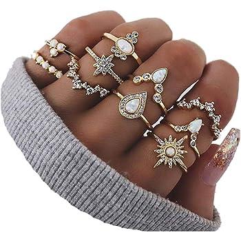 CSIYAN 6-16 PCS Knuckle Stacking Rings for Women Teen Girls,Boho Vintage Finger Rings Stackable Gold Silver Midi Rings Set Multiple Rings Pack Size 5-10