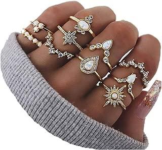 CSIYAN 6-16 PCS Knuckle Stacking Rings for Women Teen Girls,Boho Vintage Geometric Teardrop Crystal Midi Finger Rings Set