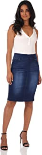 Rekucci Jeans Women's Ease into Comfort Pull-On Stretch Denim Skirt