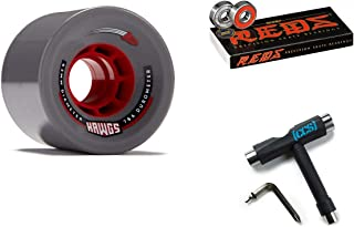Hawgs Rocket Longboard Wheels - 63mm - 76a - Grey with Bones Reds Bearings and CCS Skate Tool