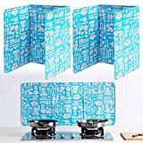 3 Sided Splash Guard, Folding Camping Stove Board Grease Splatter Guard for Frying Pan Splatter Shield Guard, Oil Block Oil Barrier for Kitchen Cooking Restaurant Use (2 Pieces, Blue)