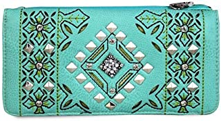 Floral Perforated Secretary Style Studded Wallet- Turquoise