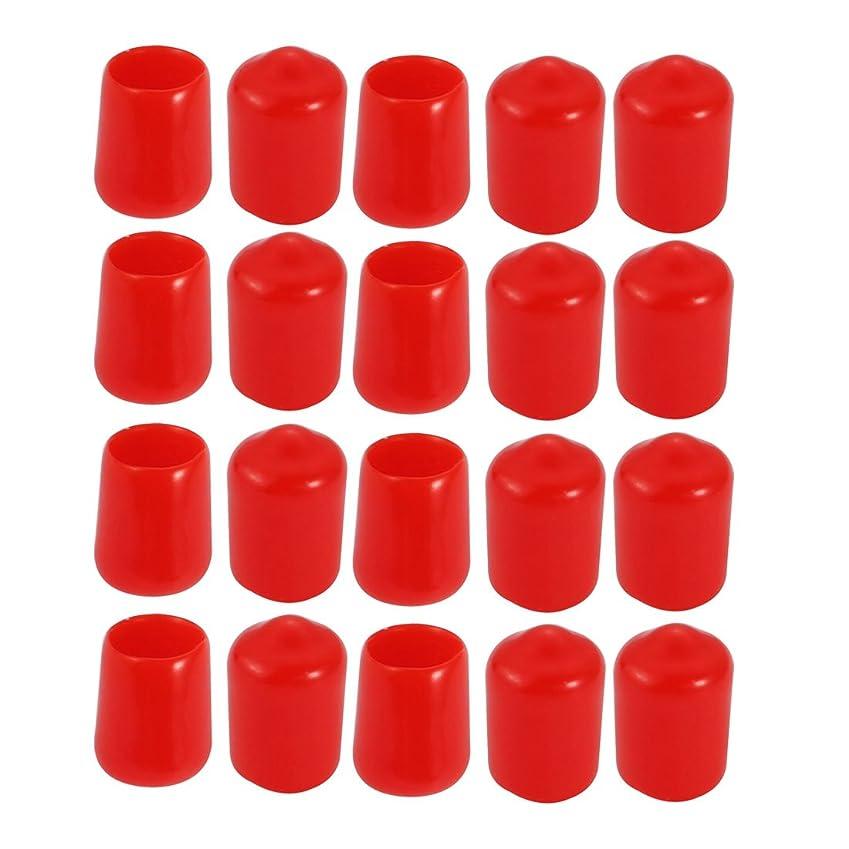 ヒロインメイドウェイトレスuxcell ビニールスレッドプロテクター エンドキャップ PVC製 レッド 内径7.5mm 20個入
