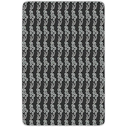 FANCYDAY badkamertapijt mat, bloemen, verticale sierbladeren op takken met zwarte achtergrond lentethema, zwart lichtblauwe crème, flanel microvezel