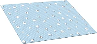Drymate Puppy Crate or Kennel Mat with Paw Print Design, 15 by 22-Inch, Blue