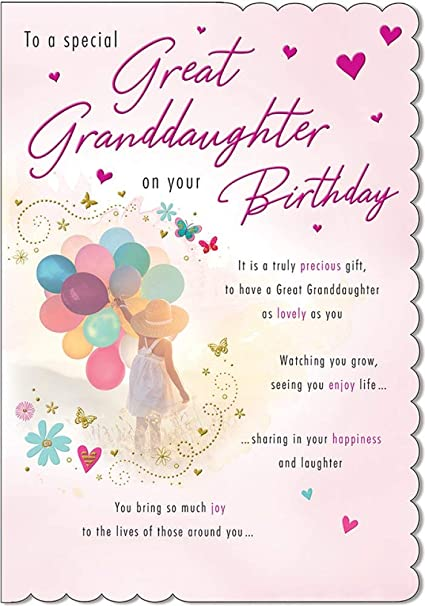 9 x 6 inches Modern Baby Card Birth of Granddaughter Piccadilly Greetings