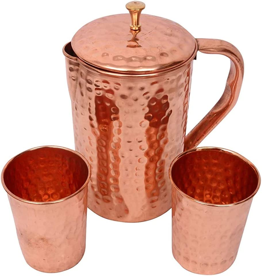 Pure Copper Water Jug with New product 4 years warranty - Tumblers 2 Pitcher an