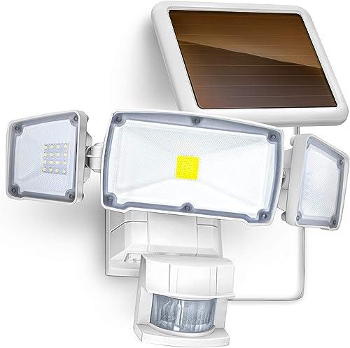 new arrival Home Zone Security sale Motion Sensor Outdoor Light - Solar Outdoor Weatherproof Triple Head Security Flood Light, new arrival White online sale
