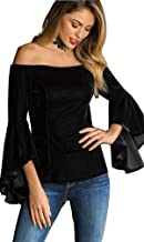 FEOYA Women Velvet Shirts Sexy Fashion Off Shoulder Trumpet Sleeves Long-Sleeved Tops