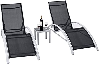 Giantex 3-Piece Chaise Lounge Set Aluminum Frame for Outdoor Patio Garden Yard Pool Furniture Adjustable Chaise Lounge Chairs (Black)