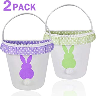 Easter Bunny Basket Eggs Bags with Fluffy Tail Green Purple Canvas Cotton Rabbit Personalized Handbag Toys Bucket Tote Bag Storage Gifts Candies for Kids Girls with Handles (1Pack Green +1Pack Purple)