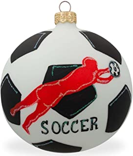 BestPysanky Soccer Player Glass Ball Christmas Sports Ornament 4 Inches