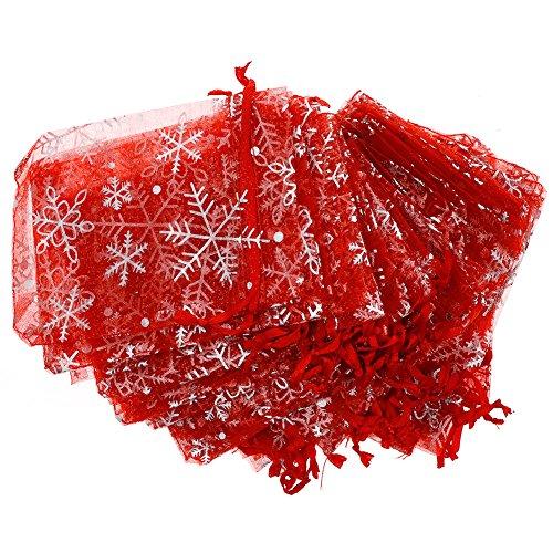 Calistouk Organza-Beutel, Schneeflocken-Muster, 9 x 12 cm, 50 Stück, rot, 9*12cm