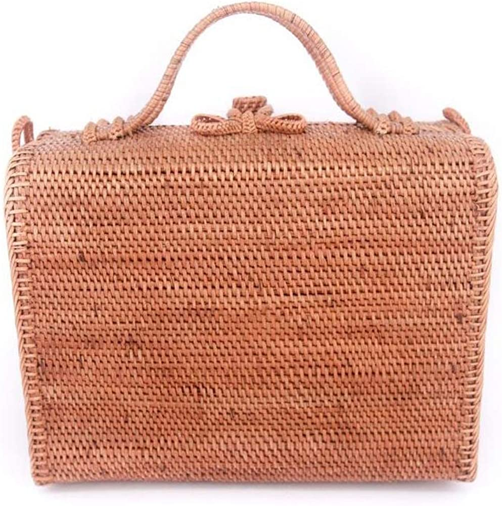 Women Rectangular Rattan Hand Woven Shoulder Straw Summer Beach Bag with Handle from Bali Indonesia Floral Linen Lining Additional Strap Included Weave Messenger Satchel Handbag