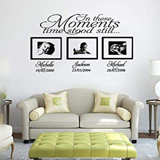 Bluegiants Vinyl Peel and Stick Mural Removable Wall Sticker Decals in These Moments Time Stood Still with Personalized Name Date for Living Room Bedroom Nursery Kids Room