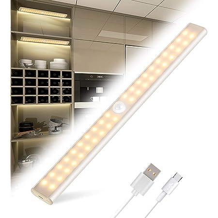 Lampe de Placard 40 LED, Tanbaby Eclairage Placard Détecteur de Mouvement, Reglette Led Rechargeable USB, 4 Modes d'Éclairage, Lumière de Placard, Bande Magnetique Adhésive Veilleuse LED (Blanc Chaud)