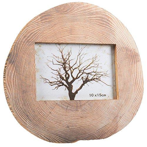 Runder Holz-Bilderrahmen – horizontaler Ständer Bilderrahmen Baumstamm Ringe Design Muster für Schreibtisch, Tisch, Zuhause, Büro und alle Anlässe Dekoration, 10 x 15 cm Fotos, 23,5 22,2 1,3