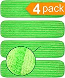 Microfiber Mop Pad Replacement Kit - 4 Pack Reusable Washable MF Mop Head Fits Best 14-18 Inch - Thick Pads for Spray Wet Dust Dry Flat 18' Inch Mops, Bona, Bruce, Rubbermaid, Libman, Zflow + More