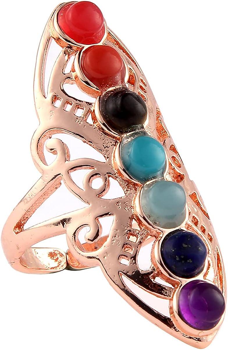 7 Chakra Stone Bead Finger Rings Reiki Balance Meditation Healing Point Charm Adjustable Yoga Hollow Flower for Women Ring Jewelry