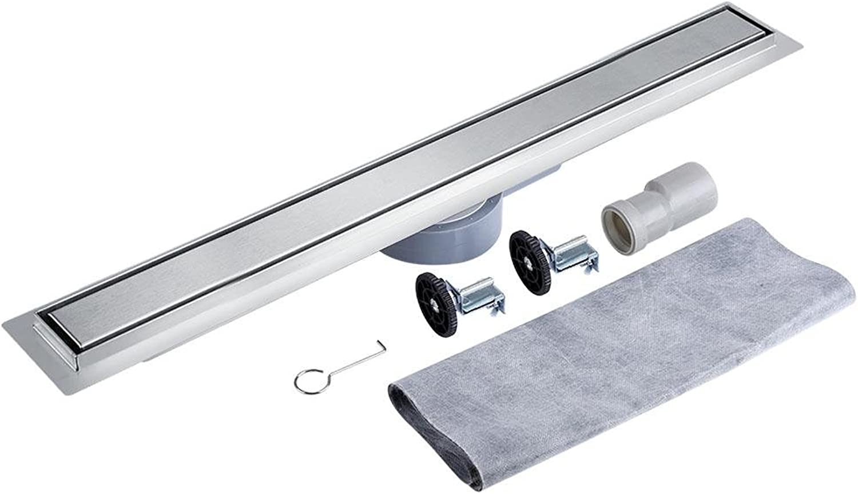 Lyrlody Bodenablauf Edelstahl Duschrinne Ablaufrinne mit Bodenbefestigung für Badezimmer Waschküche Balkon, 360-Grad-Drehedel, 60L   min(100CM)