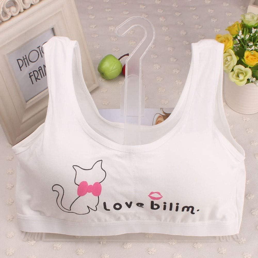 WEUIE Big Girls Preteen Teenager Bralette Underwear Vest Print Seamless Sport Bra with Padding