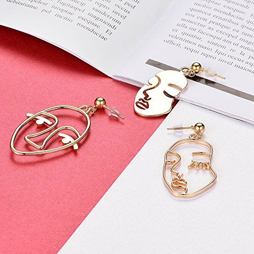 Face Abstract Gold Statement Earrings - Mookoo 3 Pair Vintage Hypoallergenic Dangle Stud for Girls Teens Women