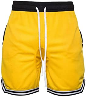 FSSE Mens Casual Sport Drawstring Gym Workout Color Block Athletic Shorts