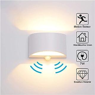 Lámpara de pared con sensor de movimiento para interior de 7 W, luz blanca cálida, lámpara LED de pared interior de aluminio, luz nocturna para pasillo, escalera, garaje, salón