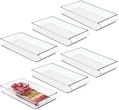"InterDesign Refrigerator and Freezer Storage Organizer Tray for Kitchen, 8"" x 2"" x 14.5"", Set of 6, Clear"
